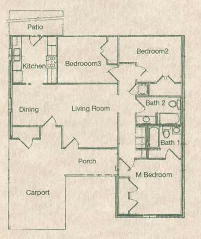 Three Bedroom / Two Bath - 1,517 Sq. Ft.*